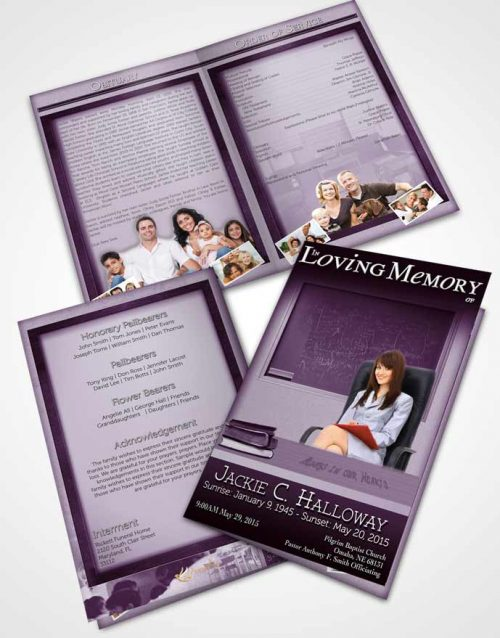 Bifold Order Of Service Obituary Template Brochure Lavender Bliss Teacher Light