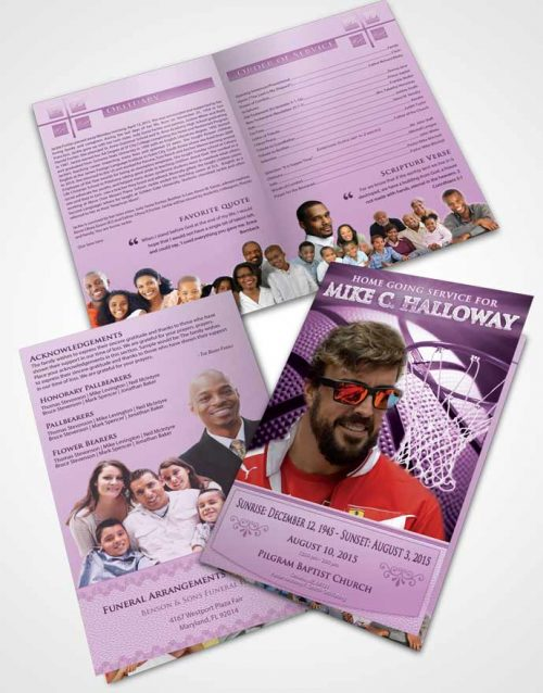 Bifold Order Of Service Obituary Template Brochure Lavender Love Basketball Honor