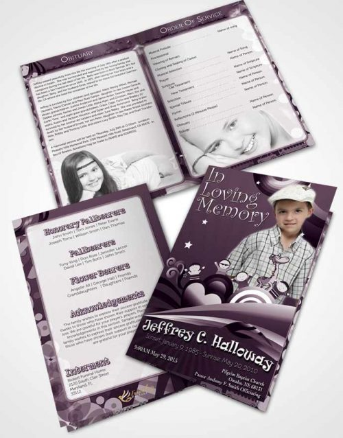 Bifold Order Of Service Obituary Template Brochure Lavender Love Childs Journey