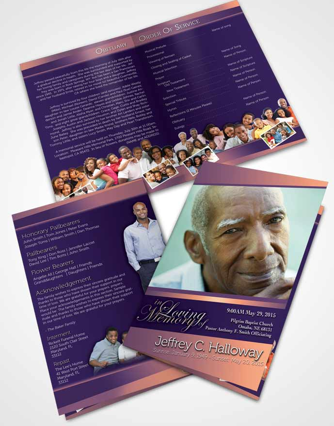Bifold Order Of Service Obituary Template Brochure Lavender Sunset Tranquility Dark