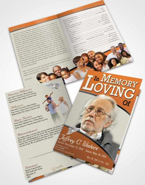 Bifold Order Of Service Obituary Template Brochure Loving Clarity