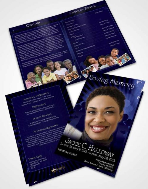 Bifold Order Of Service Obituary Template Brochure Midnight Blues Graceful Dancer Dark