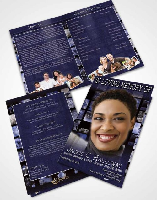 Bifold Order Of Service Obituary Template Brochure Ocean Blue Desire Photographers Dream