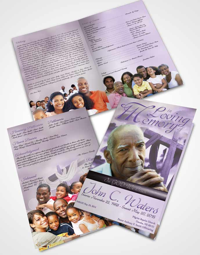 Bifold Order Of Service Obituary Template Brochure On The Cross Lavender Honor