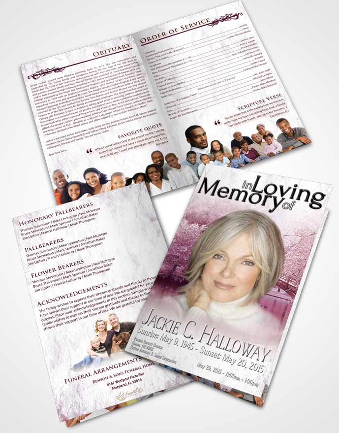 Bifold order of service obituary template brochure pink for Obituary pamphlet template