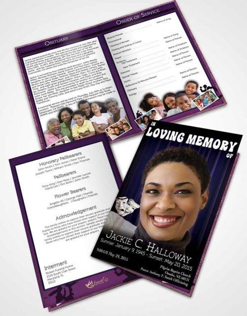 Bifold Order Of Service Obituary Template Brochure Purple Actor