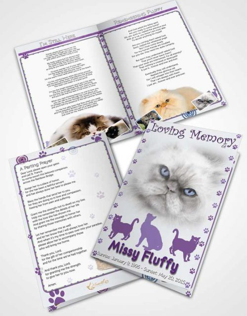 Bifold Order Of Service Obituary Template Brochure Purple Fluffy Cat