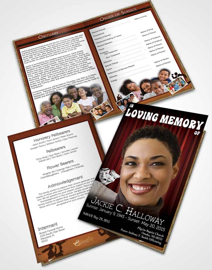 Bifold Order Of Service Obituary Template Brochure Ruby Actor