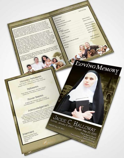 Bifold Order Of Service Obituary Template Brochure Rustic Heavenly Nun