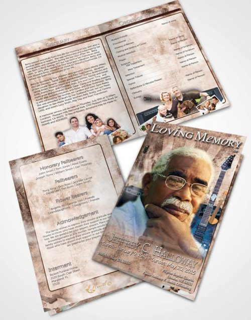 Bifold Order Of Service Obituary Template Brochure Rustic Musician