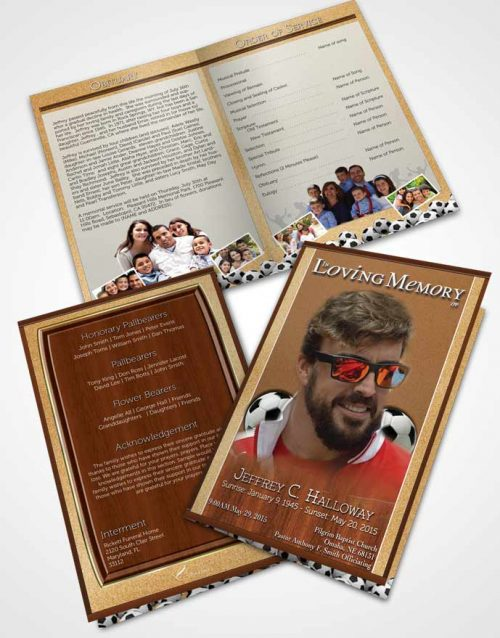 Bifold Order Of Service Obituary Template Brochure Sandy Beach Soccer Star