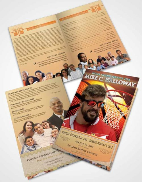 Bifold Order Of Service Obituary Template Brochure Serene Basketball Honor