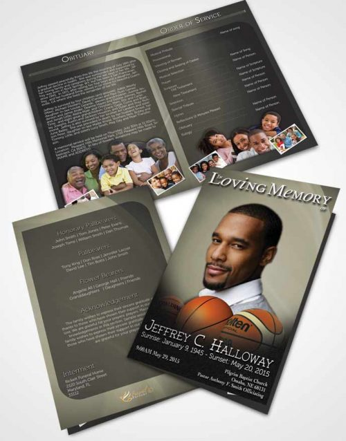 Bifold Order Of Service Obituary Template Brochure Soft Daylight Basketball Lover Dark