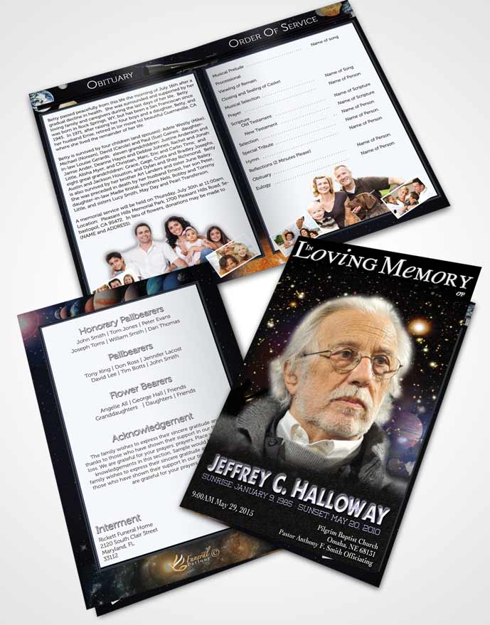 Bifold Order Of Service Obituary Template Brochure Starry Night Astronomers Sky