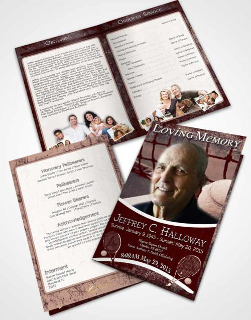 Bifold Order Of Service Obituary Template Brochure Strawberry Sky Tennis Star
