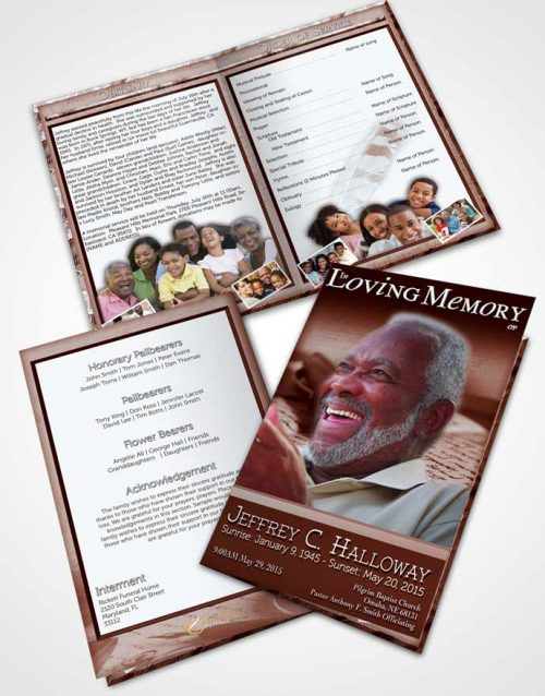 Bifold Order Of Service Obituary Template Brochure Strawberry Writer