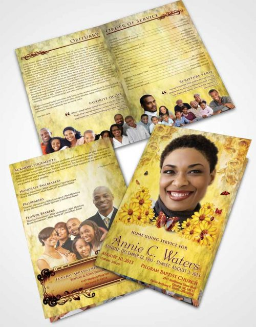 Bifold Order Of Service Obituary Template Brochure Summer Sunny Sunflowers
