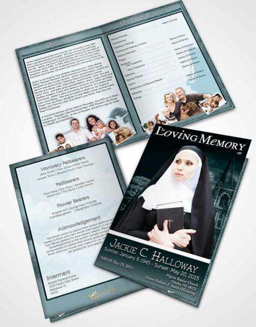 Bifold Order Of Service Obituary Template Brochure Turquoise Heavenly Nun