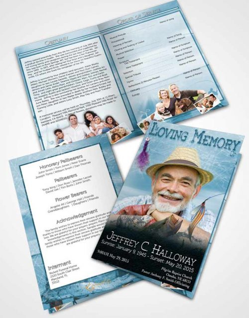 Bifold Order Of Service Obituary Template Brochure Turquoise Waters Calm Fisherman