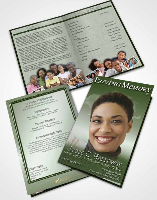 Bifold Order Of Service Obituary Template Brochure Up in the Emerald Sky