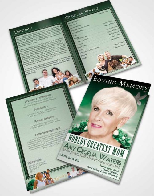 Bifold Order Of Service Obituary Template Brochure Worlds Greatest Peaceful Mom