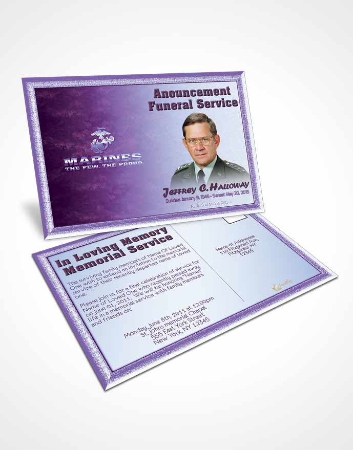 Funeral Announcement Card Template 1st Marines The Few The Proud Faith