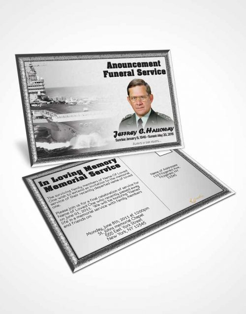 Funeral Announcement Card Template 1st Navy Sailor Freedom