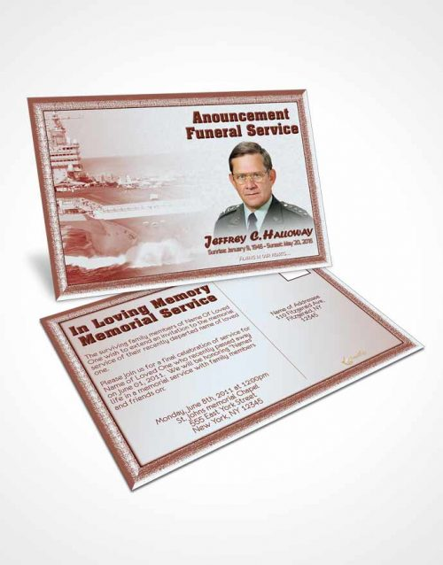 Funeral Announcement Card Template 1st Navy Sailor Sunrise