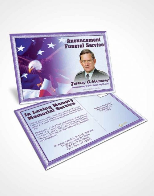 Funeral Announcement Card Template 2nd Veterans Day Faith