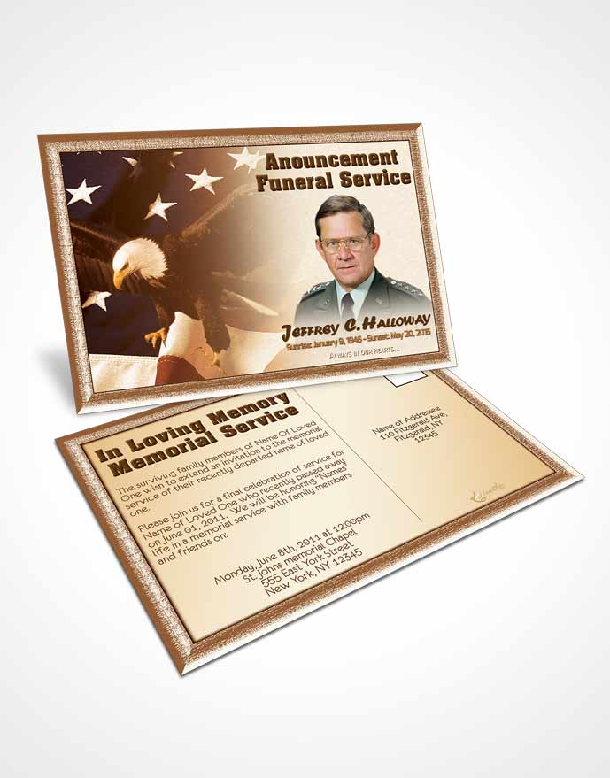 Funeral Announcement Card Template 2nd Veterans Day Love