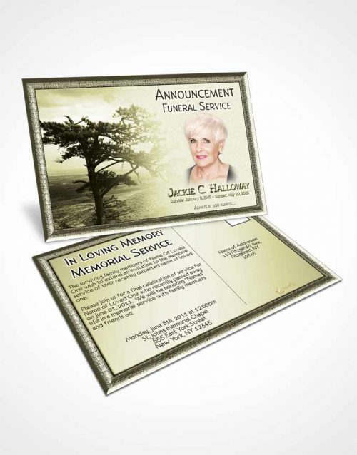 Funeral Announcement Card Template A Blissful Rustic Tree