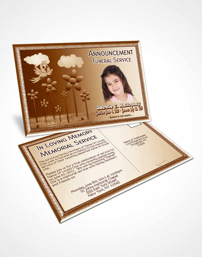 Funeral Announcement Card Template Autumn Breeze Childs Dream