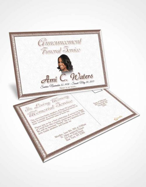 Funeral Announcement Card Template Autumn Purity