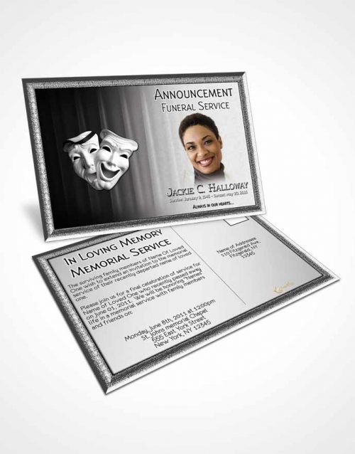 Funeral Announcement Card Template Black and White Actor