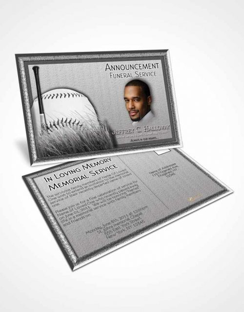 Funeral Announcement Card Template Black and White Baseball Star Light
