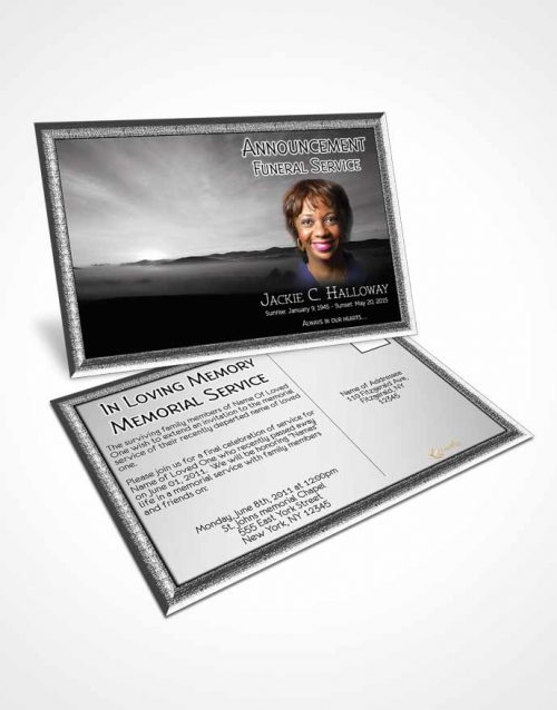 Funeral Announcement Card Template Black and White Desert Sky