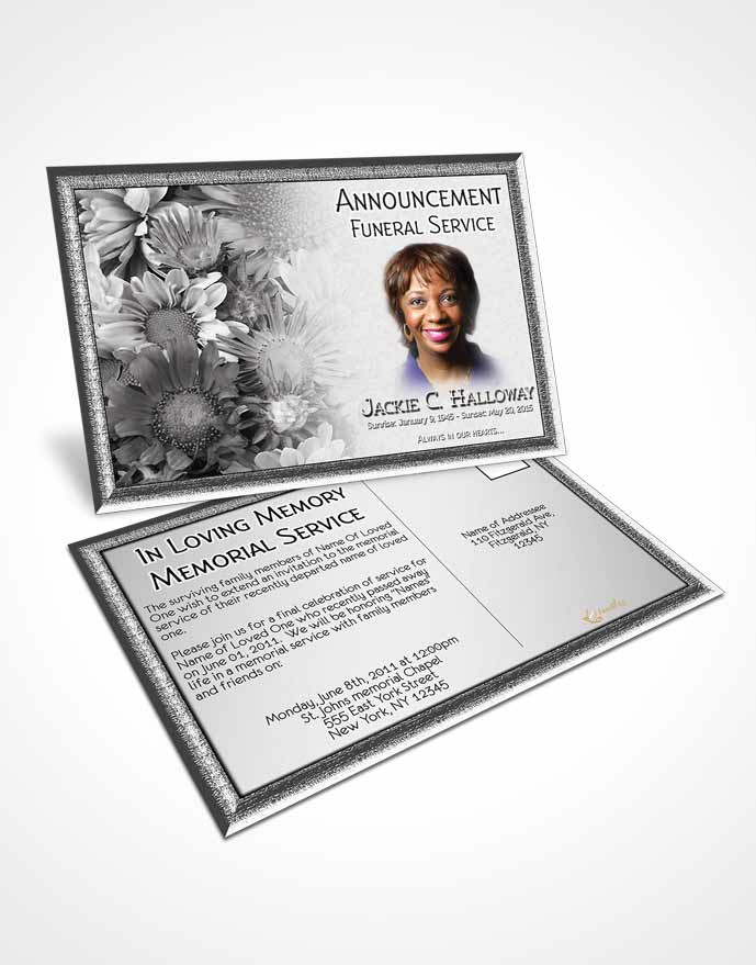 Funeral Announcement Card Template Black and White Dream Flower