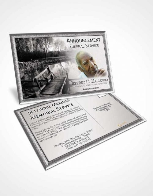 Funeral Announcement Card Template Black and White Fall Getaway