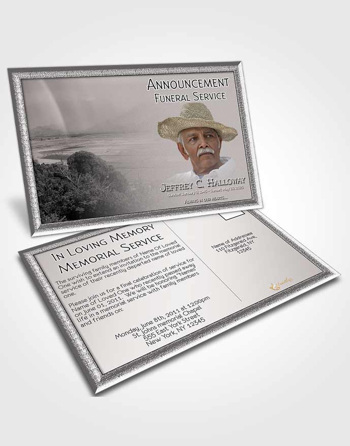 Funeral Announcement Card Template Black and White Misty Mountain
