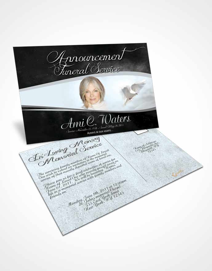 Funeral Announcement Card Template Black and White Paradise