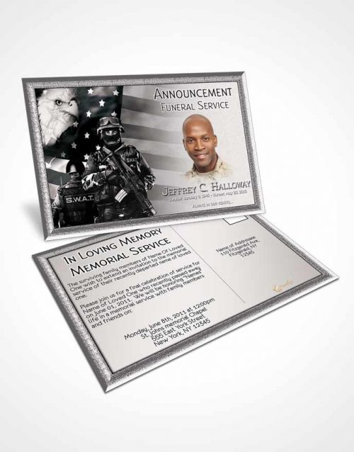 Funeral Announcement Card Template Black and White SWAT Enforcement