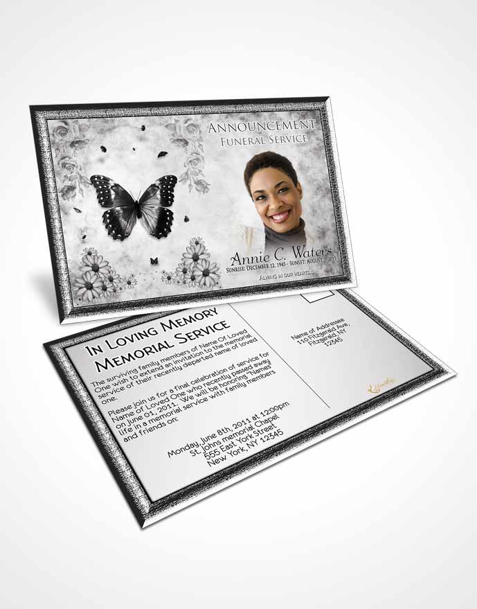 Funeral Announcement Card Template Black and White Sunny Sunflowers