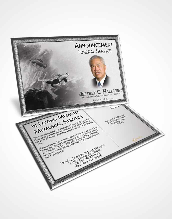 Funeral Announcement Card Template Black and White Water Lover