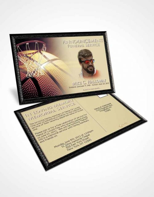 Funeral Announcement Card Template Blissful Basketball Honor