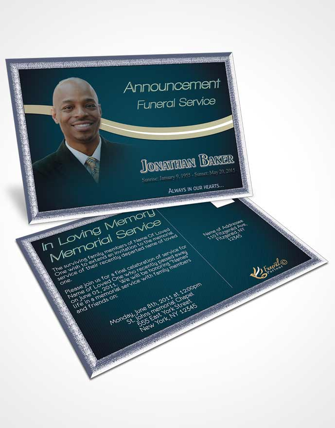 Funeral Announcement Card Template Blue Heaven Journey