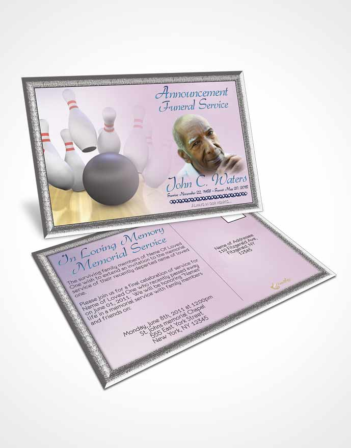 Funeral Announcement Card Template Bowling Days Early Morning