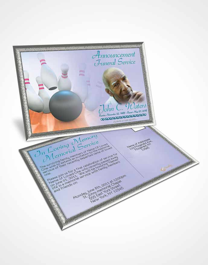 Funeral Announcement Card Template Bowling Days Ocean Waters