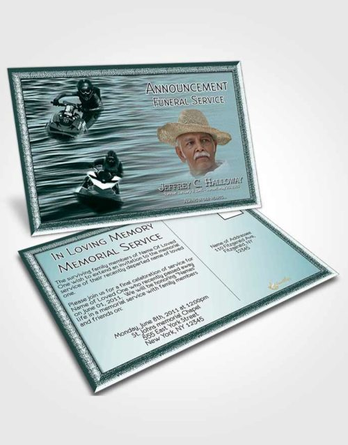 Funeral Announcement Card Template Clouds of Water Sports