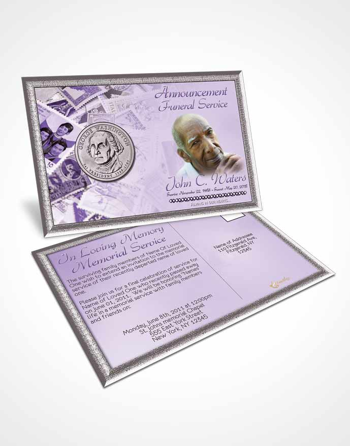 Funeral Announcement Card Template Collecting Stamps and Coins Lavender Honor
