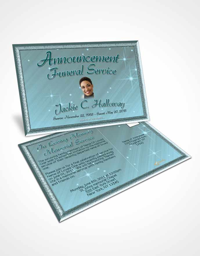 Funeral Announcement Card Template Coral Reef Serenity